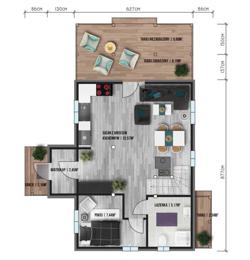 Castor - Domy jednorodzinne opowierzchni zabudowy do90 m2 - 5