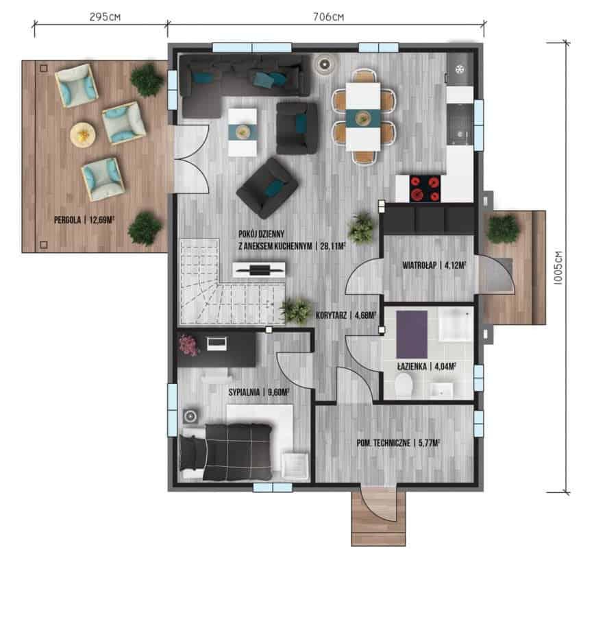 Castor - Domy jednorodzinne opowierzchni zabudowy do90 m2 - 12