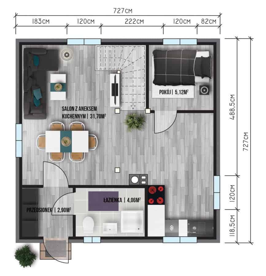 Castor - Domy jednorodzinne opowierzchni zabudowy do90 m2 - 3